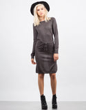 Front View of Drawstring Sweater Dress