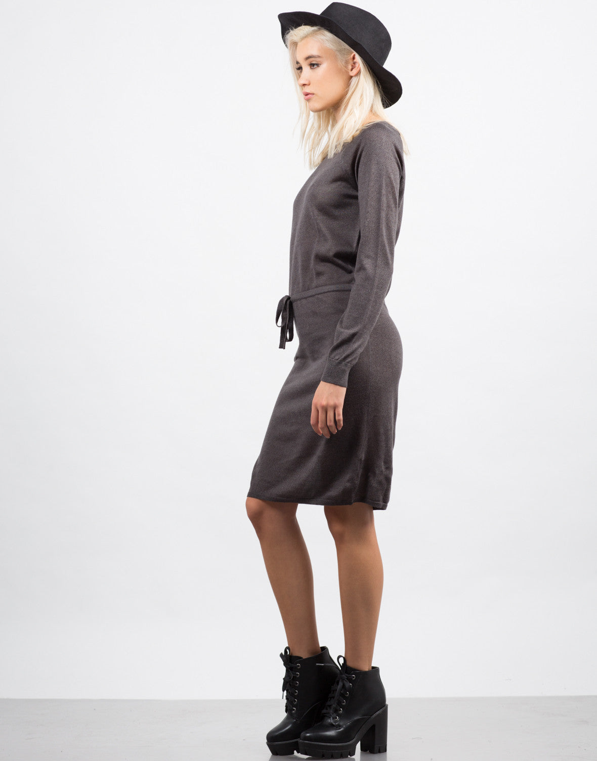 Side View of Drawstring Sweater Dress