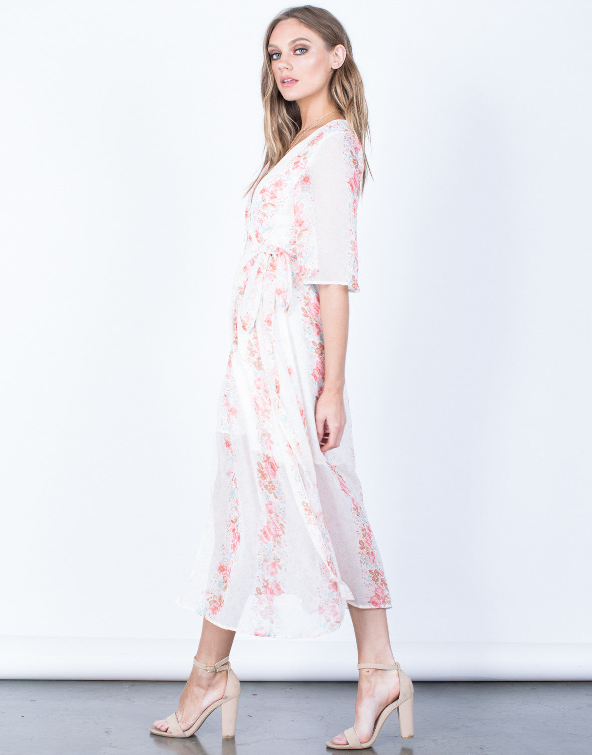 Side View of Dreamy Floral Dress