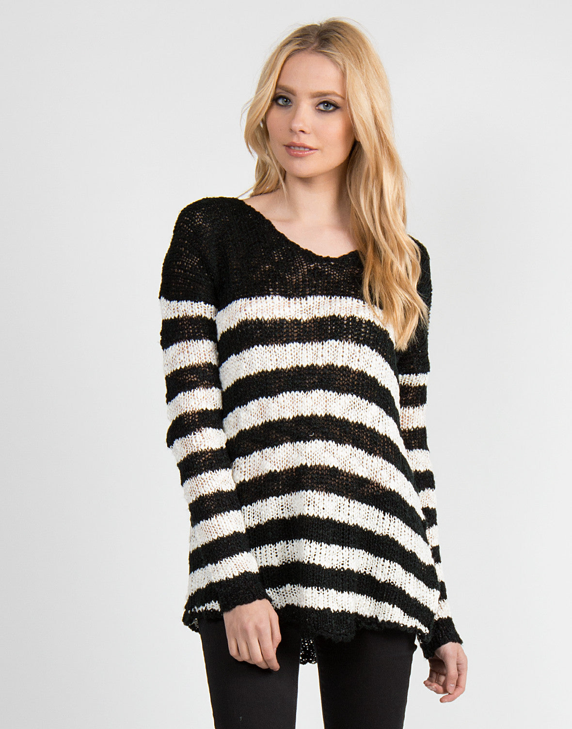Dreamy Black and White Striped Sweater