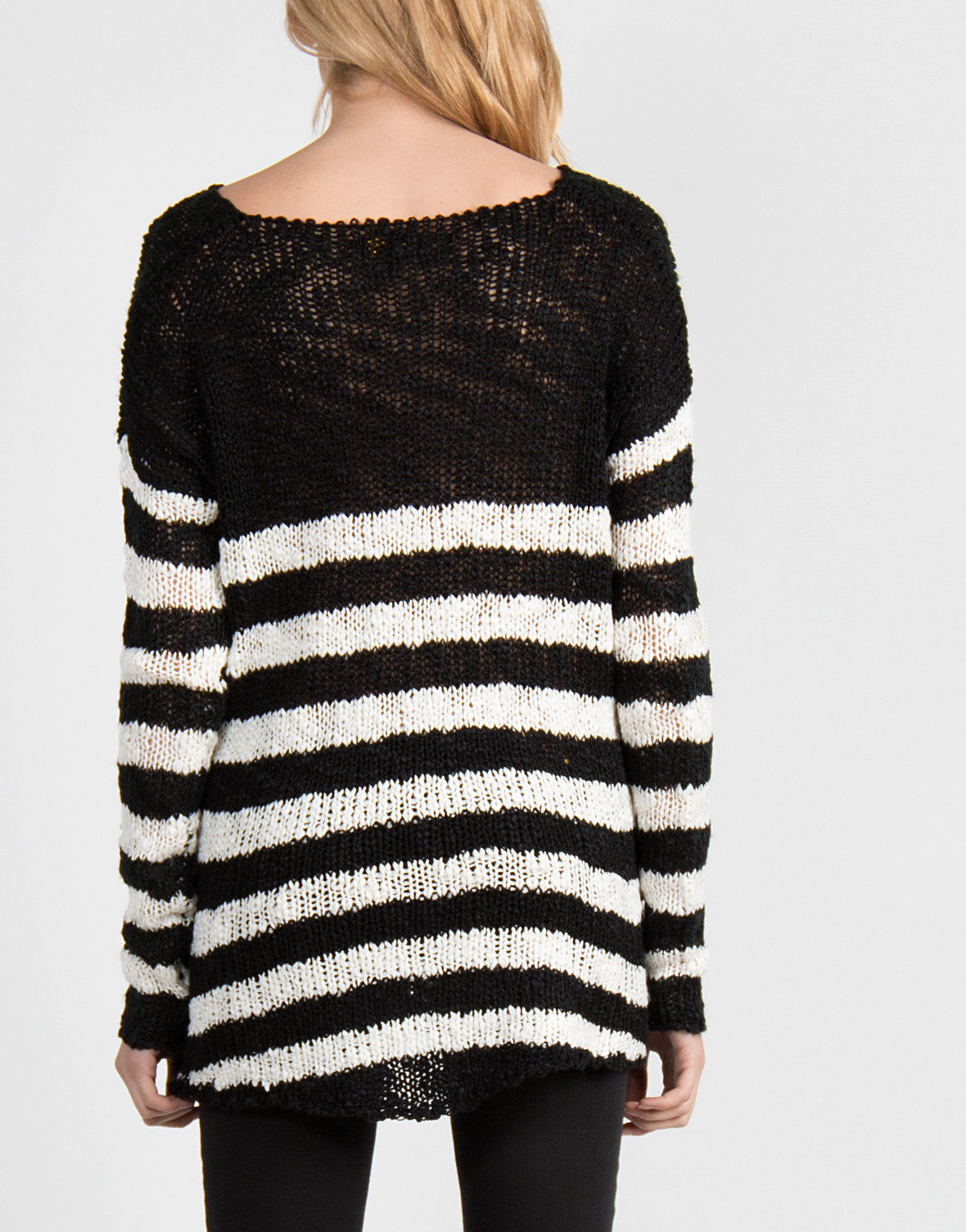 Dreamy Black and White Striped Sweater - 2020AVE