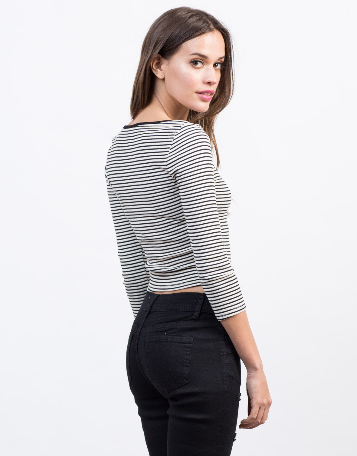 Back View of Easy 3/4 Striped Top