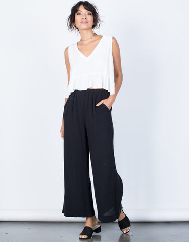 Black Easy Breezy Pants - Front View