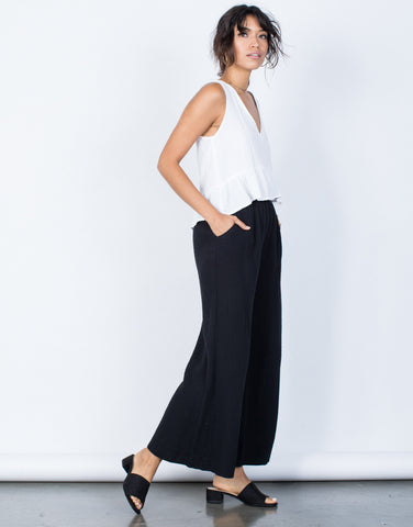 Black Easy Breezy Pants - Side View