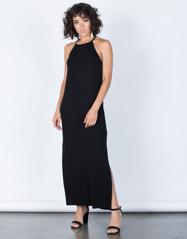 Black Easy Livin' Maxi Dress - Front View