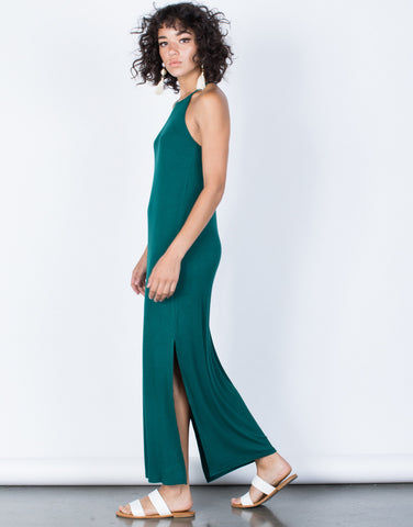 Hunter Green Easy Livin' Maxi Dress - Side View