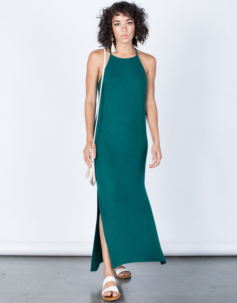 Hunter Green Easy Livin' Maxi Dress - Front View
