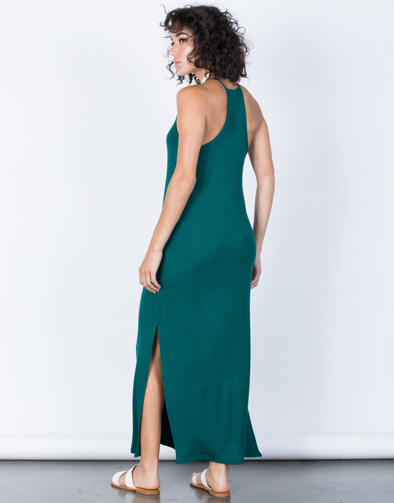 Hunter Green Easy Livin' Maxi Dress - Back View