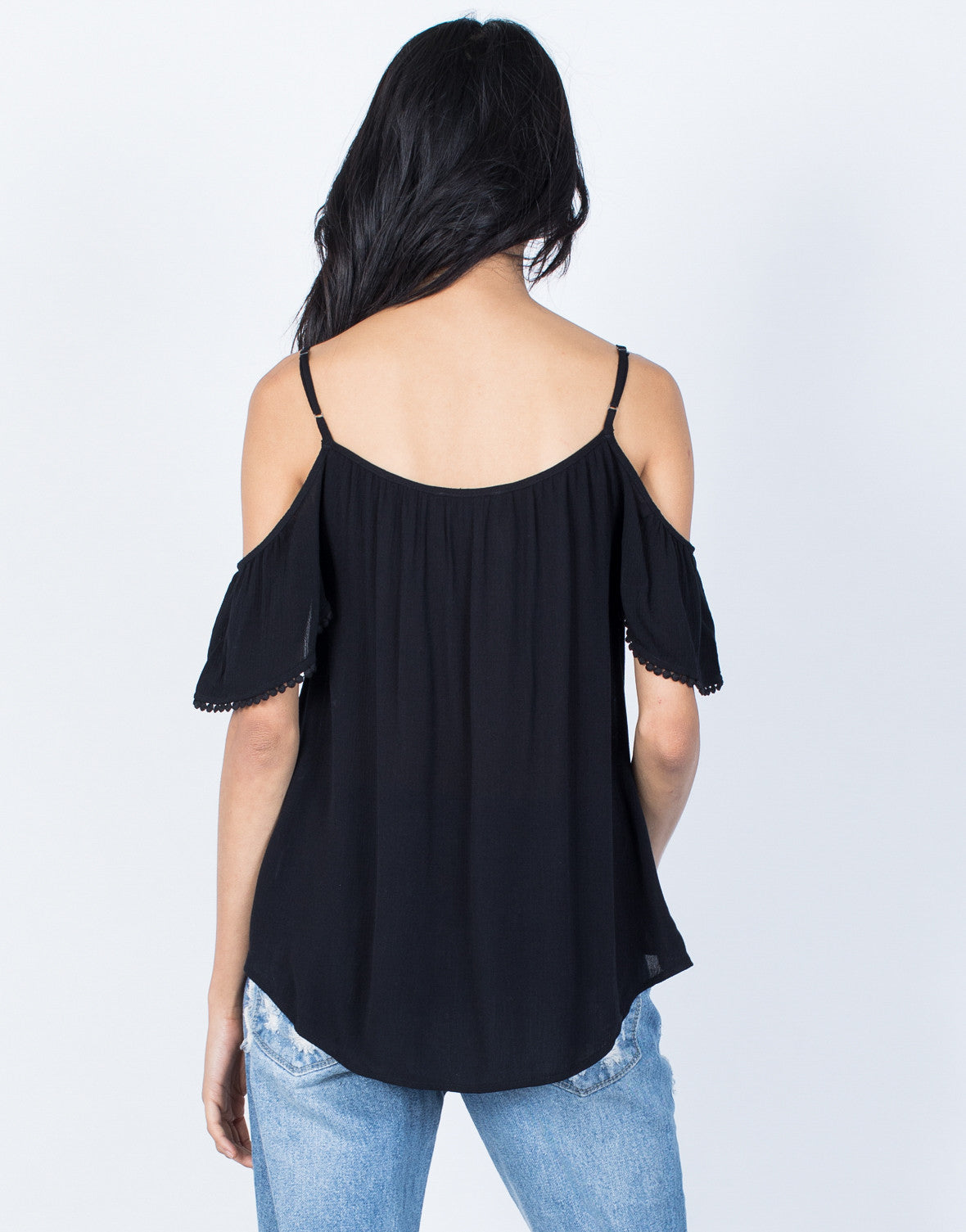 Black Easygoing Boho Top - Back View