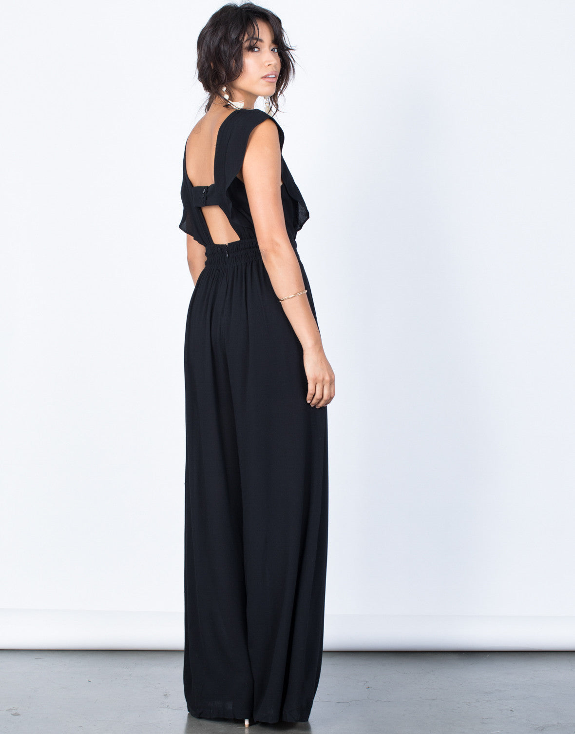 Back View of Easygoing Smocked Jumpsuit
