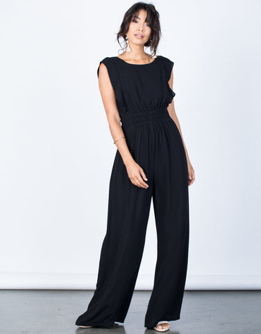 Front View of Easygoing Smocked Jumpsuit