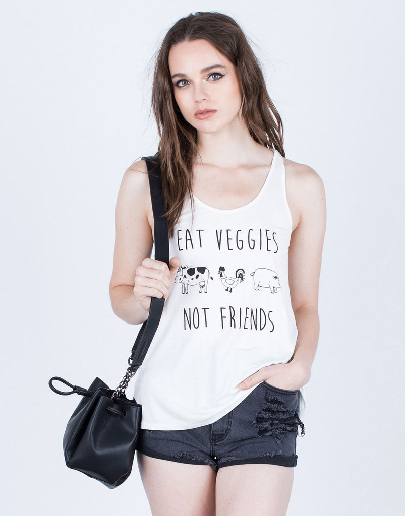 Front View of Eat Veggies not Friends Tank
