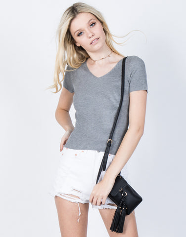 Front View of Effortless Ribbed Tee