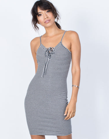 Gray Effortless Striped Dress - Front View