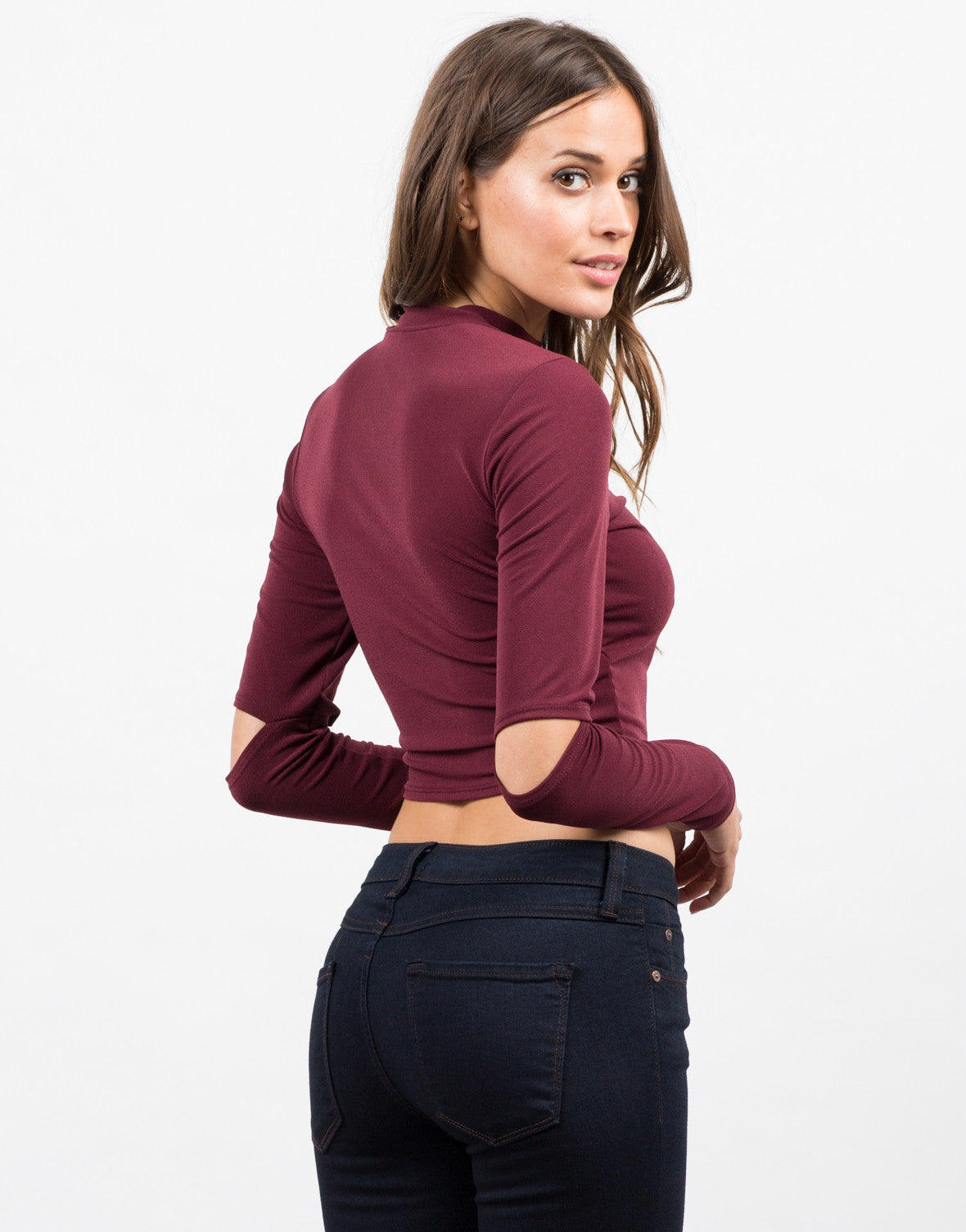 Back View of Elbow Slit Crop Top