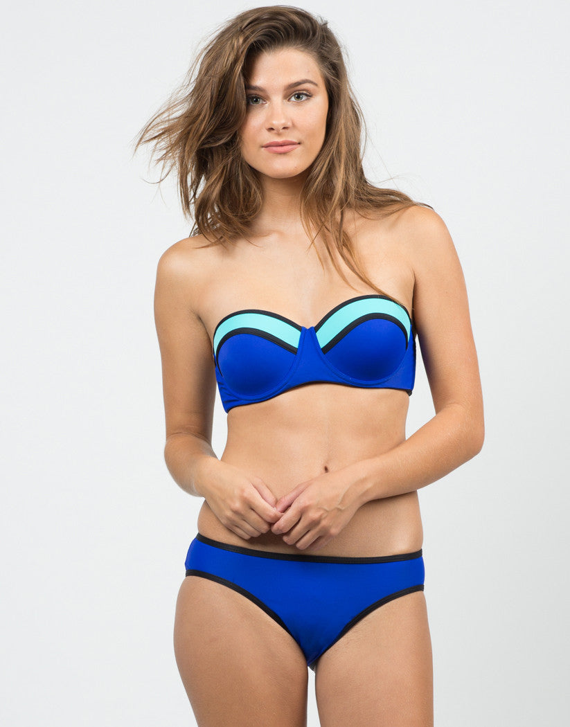 Front View of Electric Color Block Bikini Set