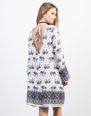 Back View of Elephant Bell Sleeve Dress