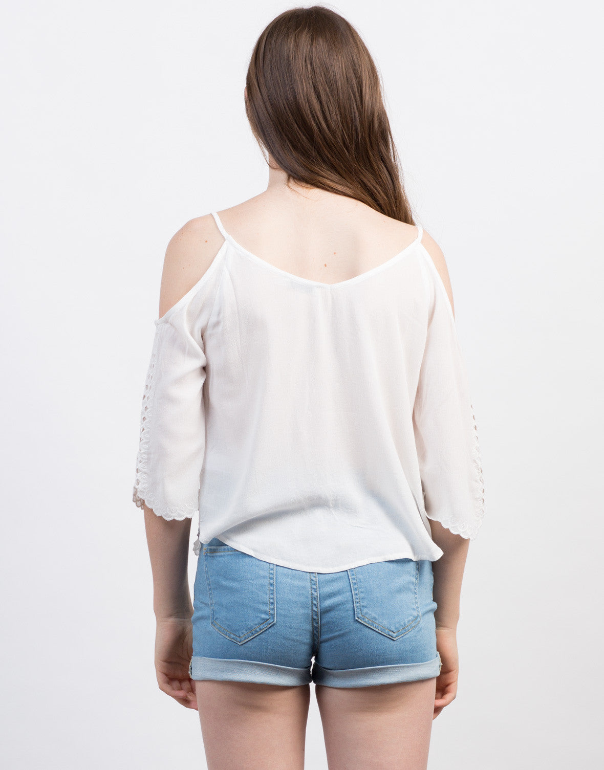 Back View of Embroidered Cold Shoulder Top