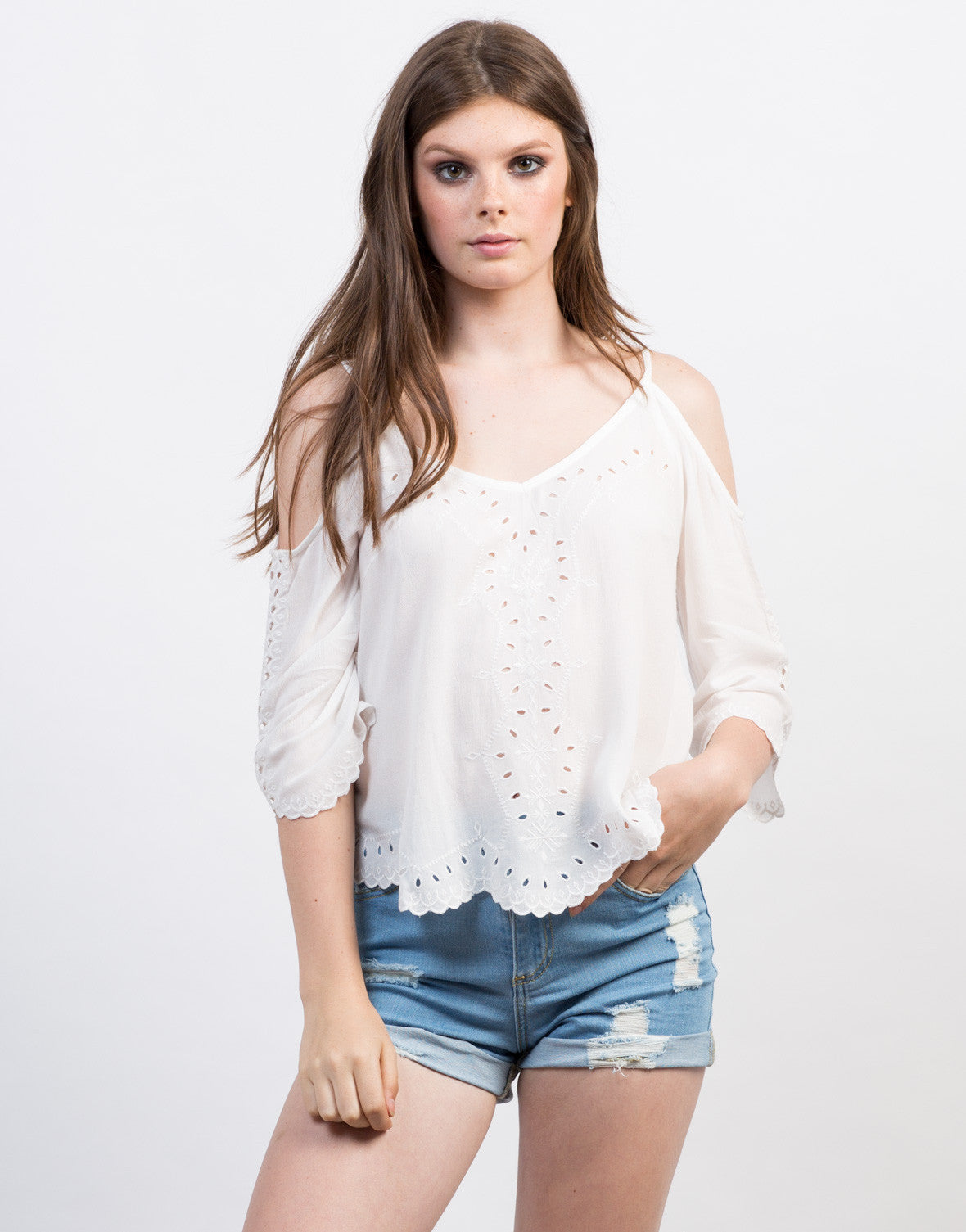 Front View of Embroidered Cold Shoulder Top