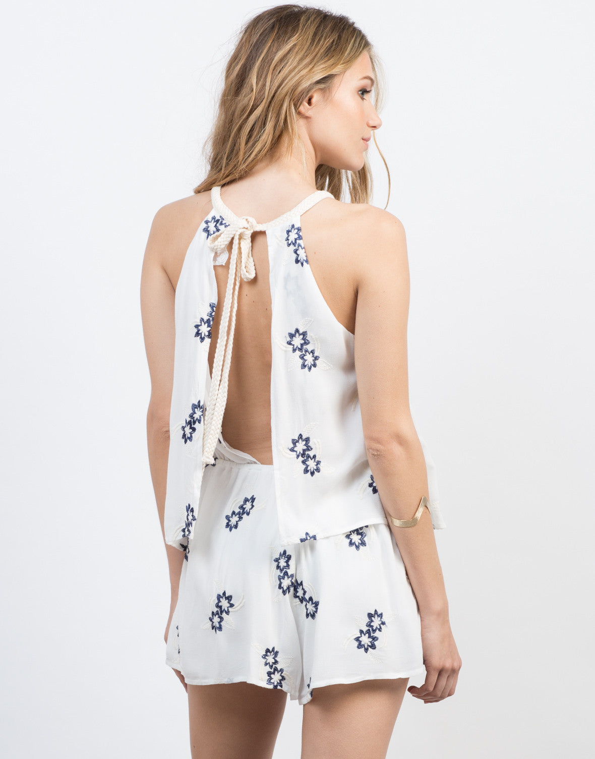 Back View of Embroidered Floral Layered Romper