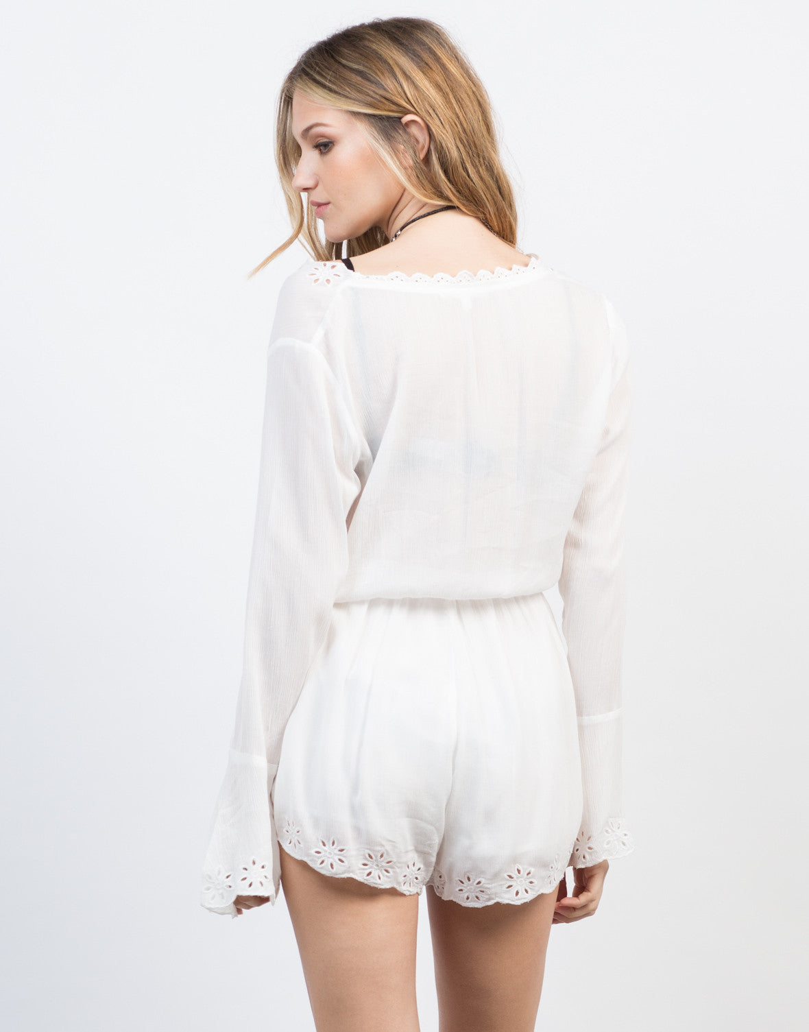Back View of Embroidered L/S Gauze Romper