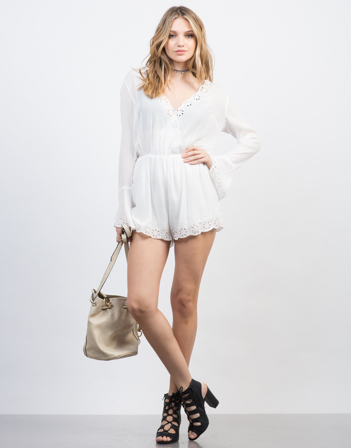 Front View of Embroidered L/S Gauze Romper