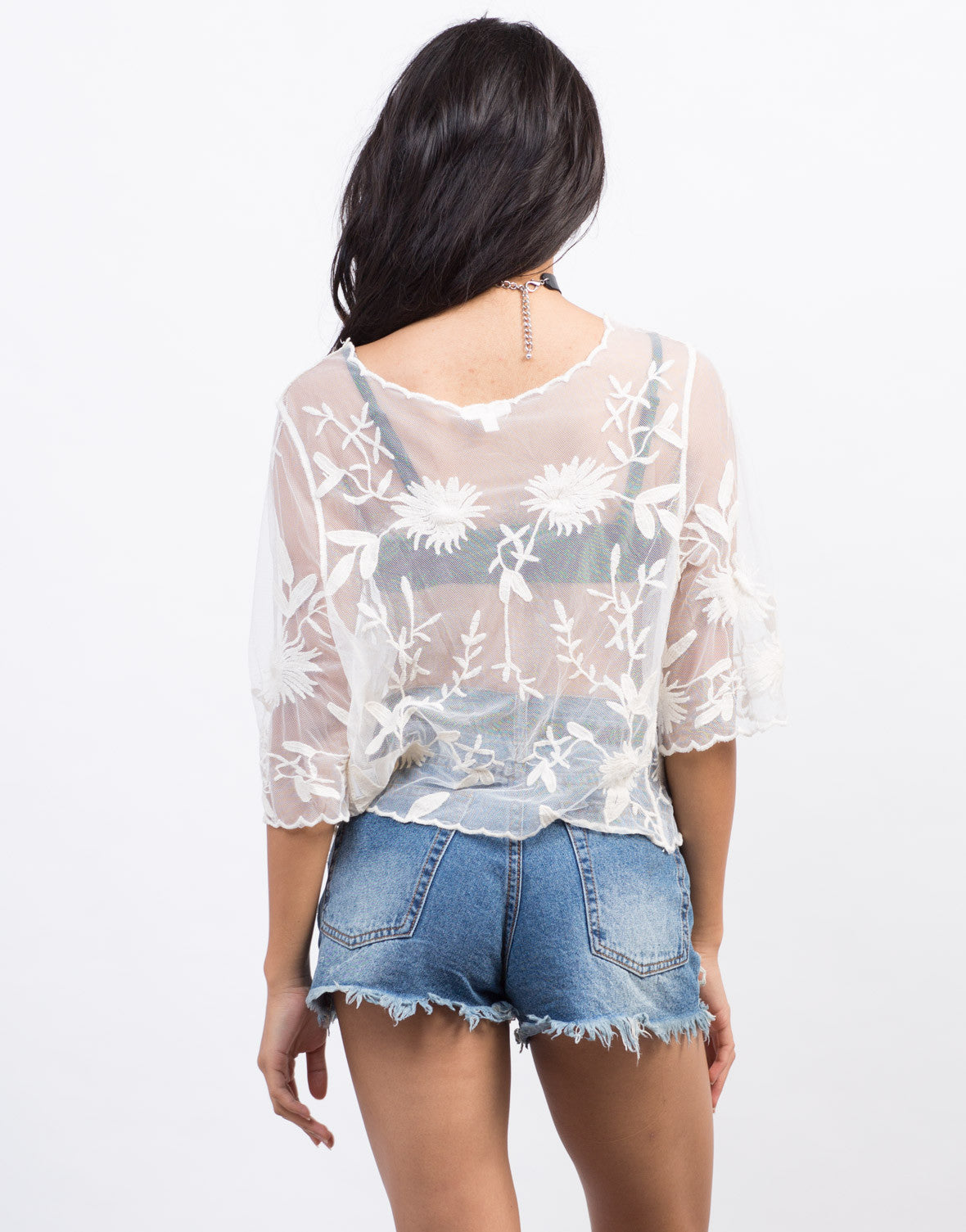 Back View of Embroidered Lacey Mesh Top