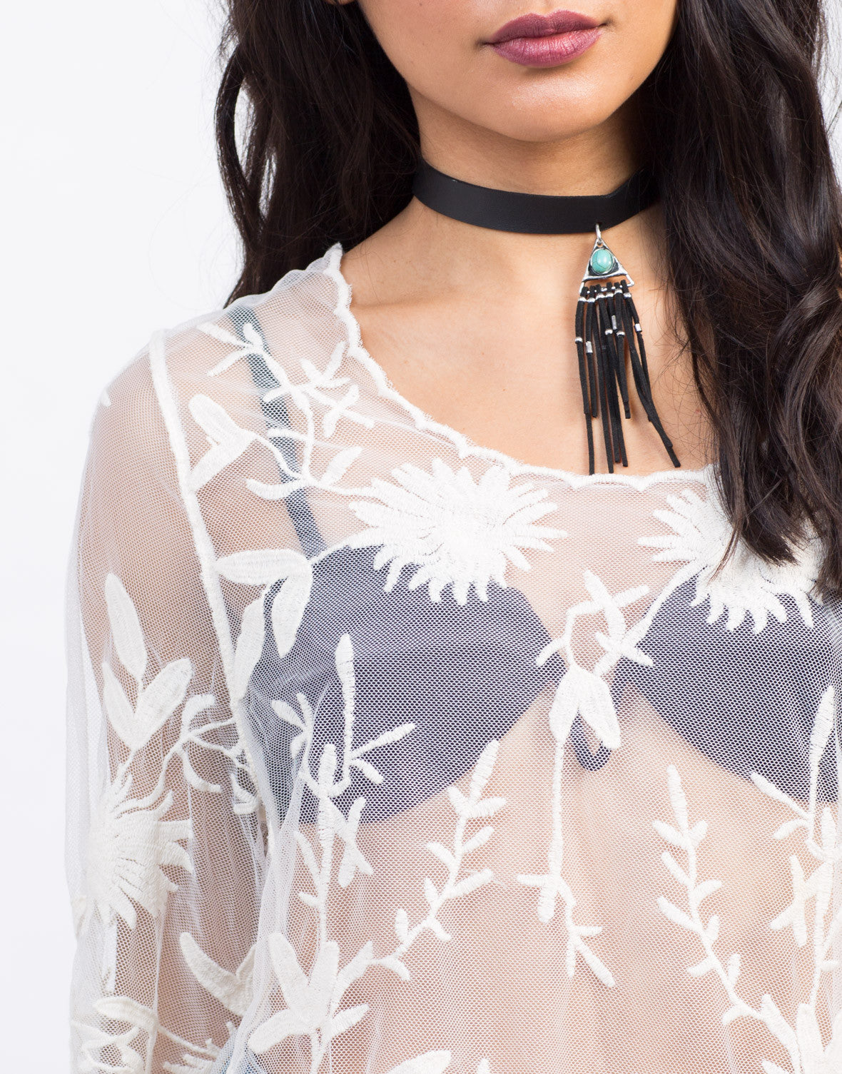 Detail of Embroidered Lacey Mesh Top