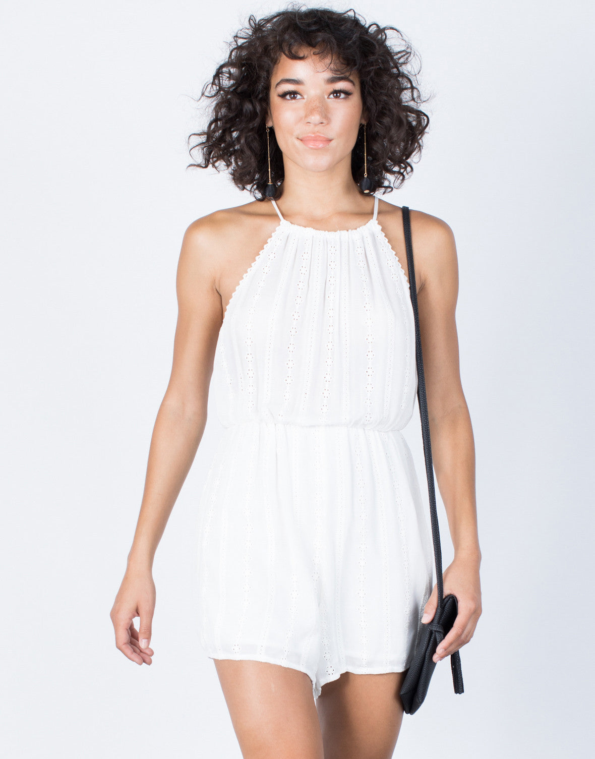 White Embroidered Lines Romper - Front View