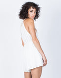 White Embroidered Lines Romper - Back View