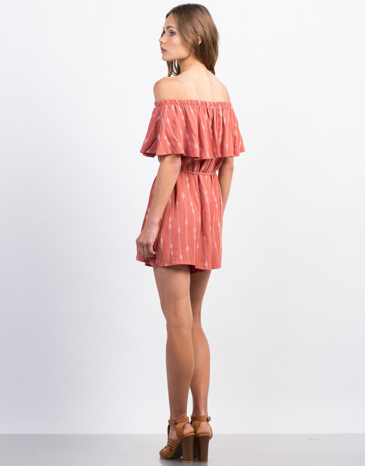 Back View of Embroidered Off-the-Shoulder Romper