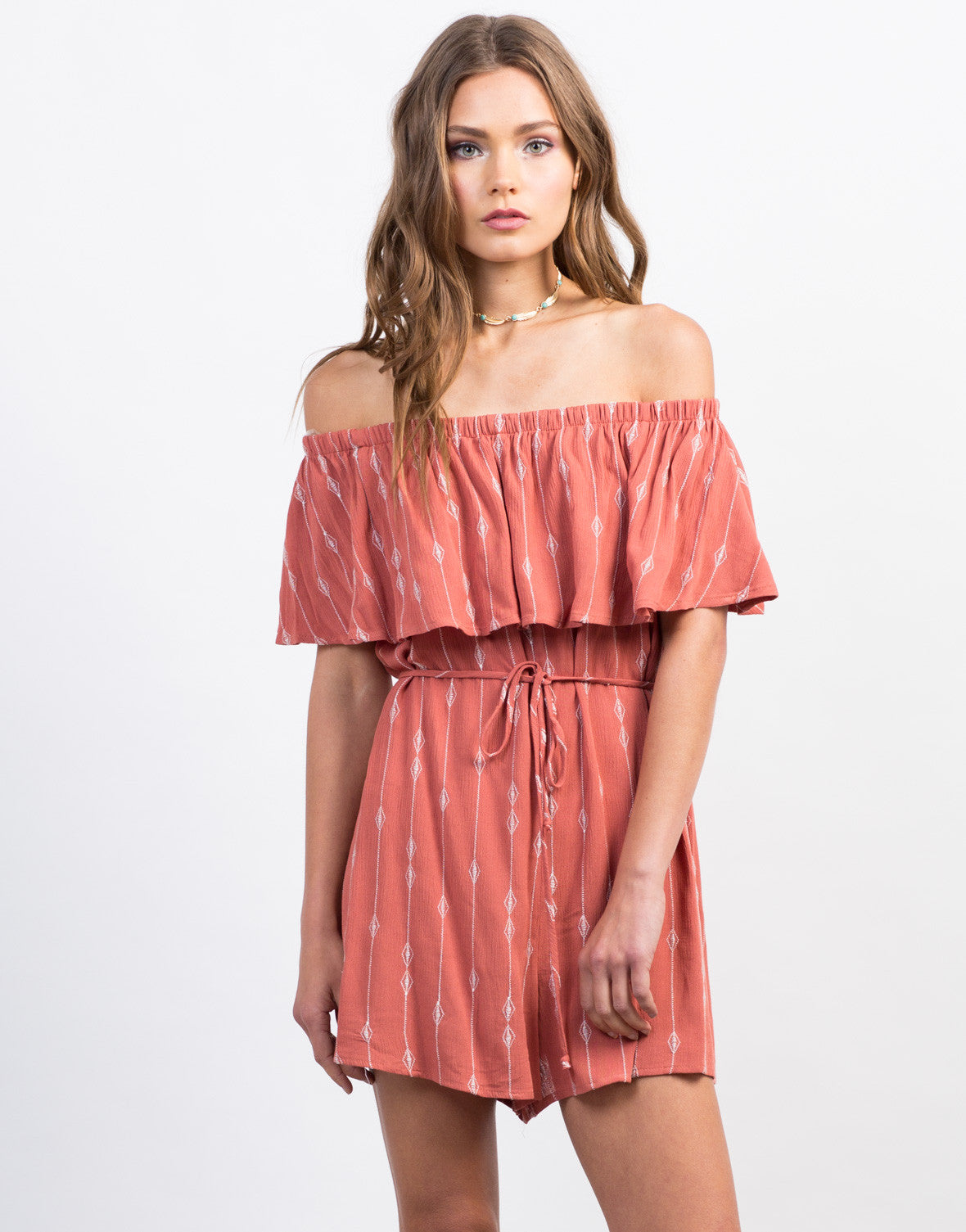 Front View of Embroidered Off-the-Shoulder Romper