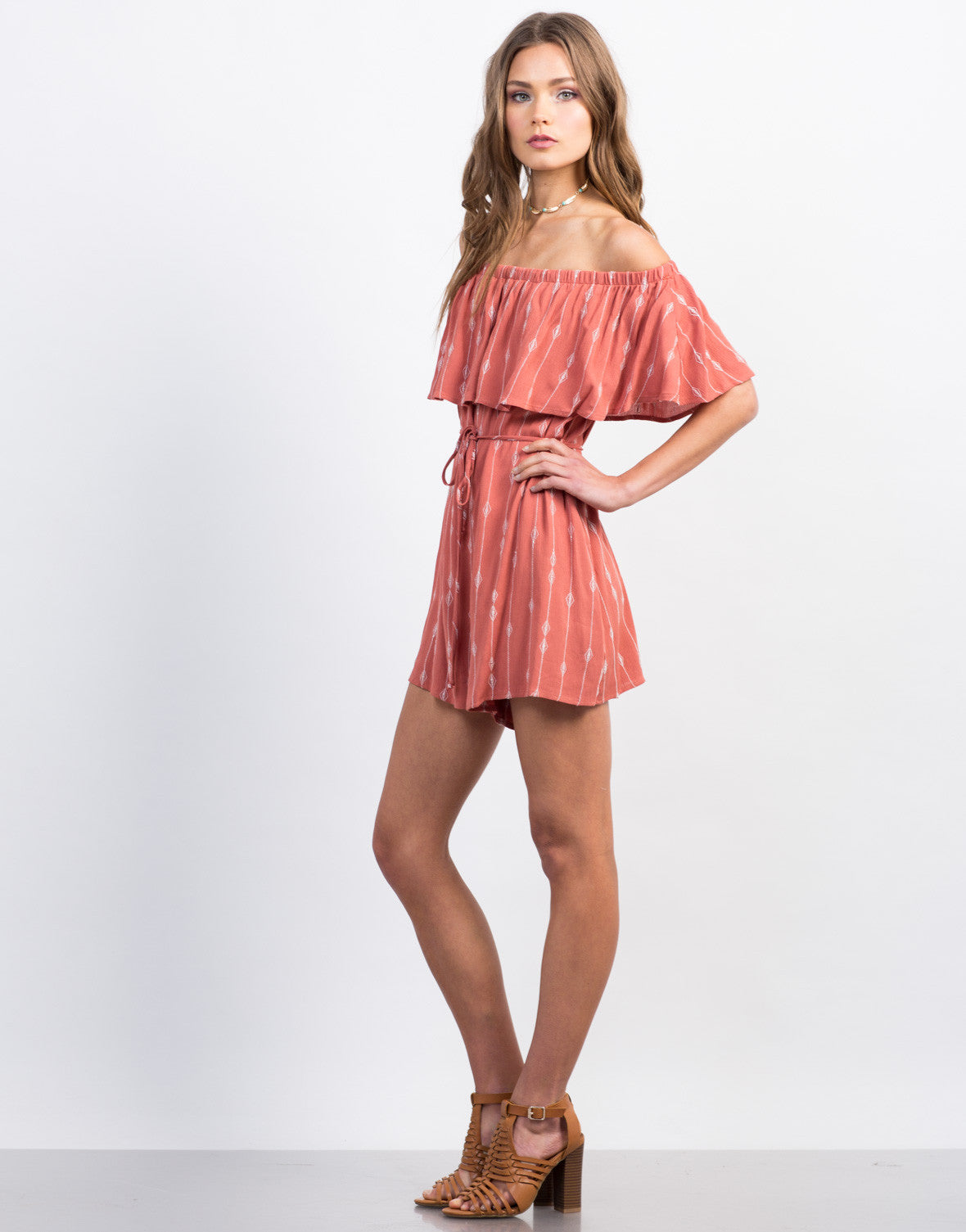 Side View of Embroidered Off-the-Shoulder Romper