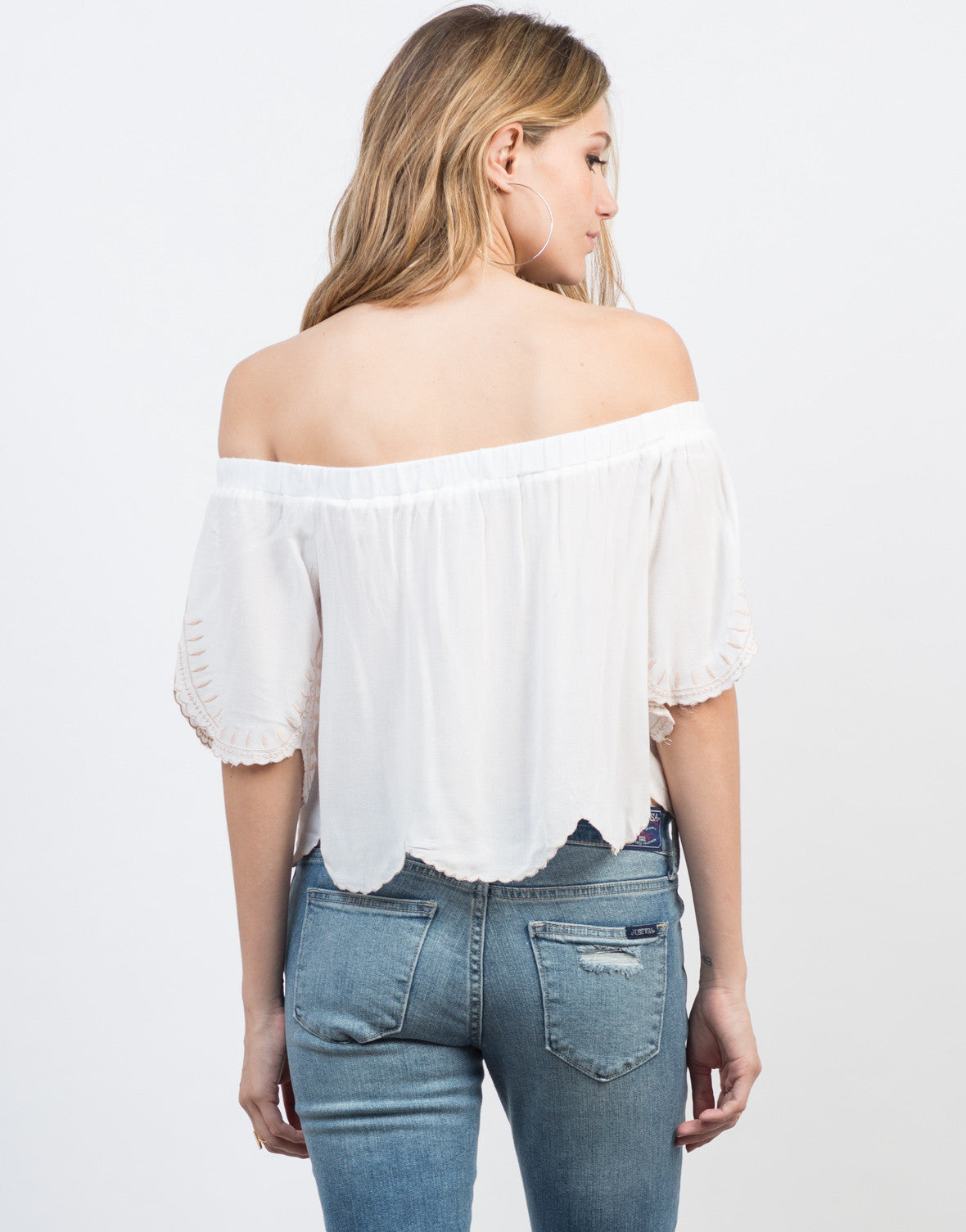Back View of Embroidered Off-the-Shoulder Top