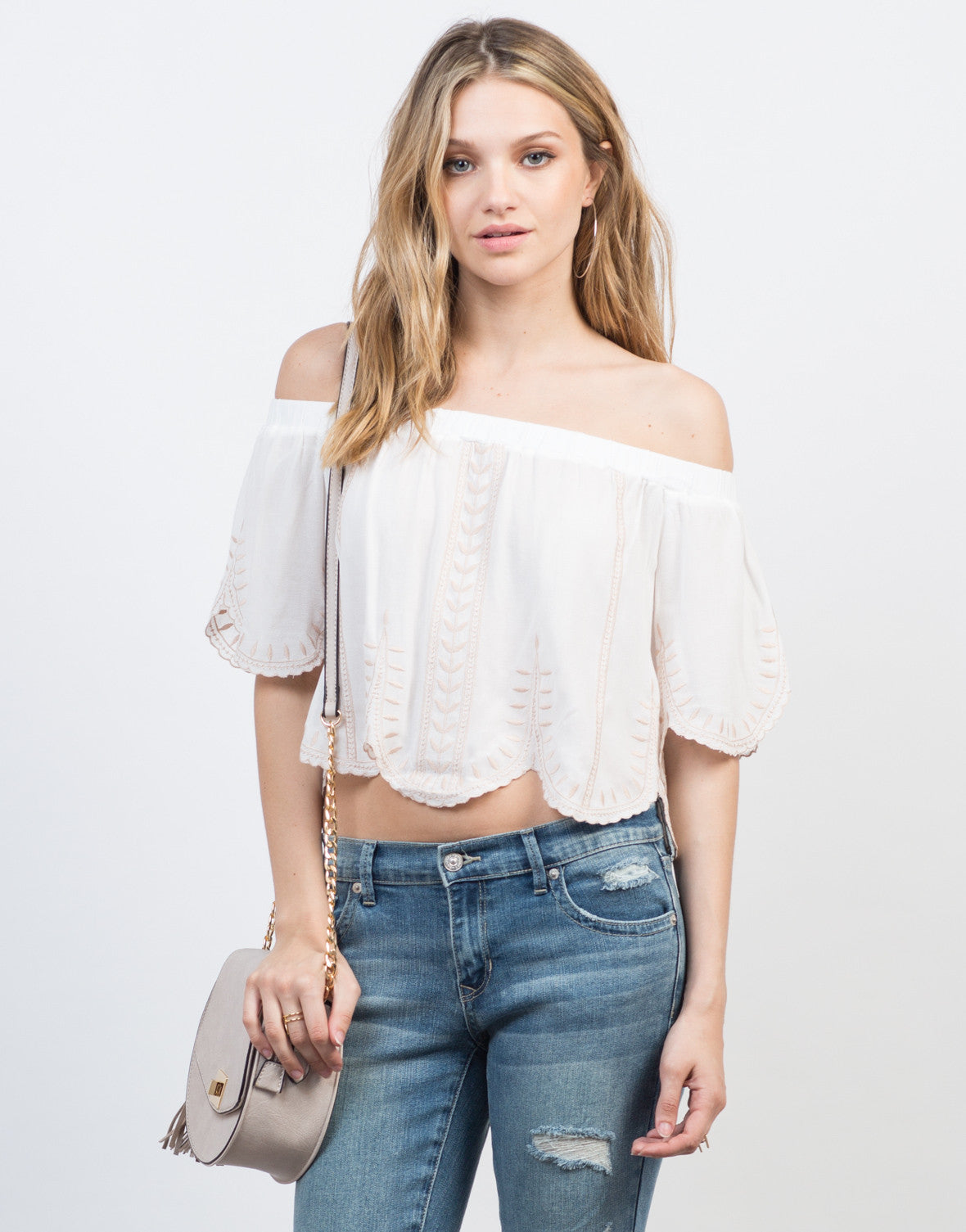 Front View of Embroidered Off-the-Shoulder Top