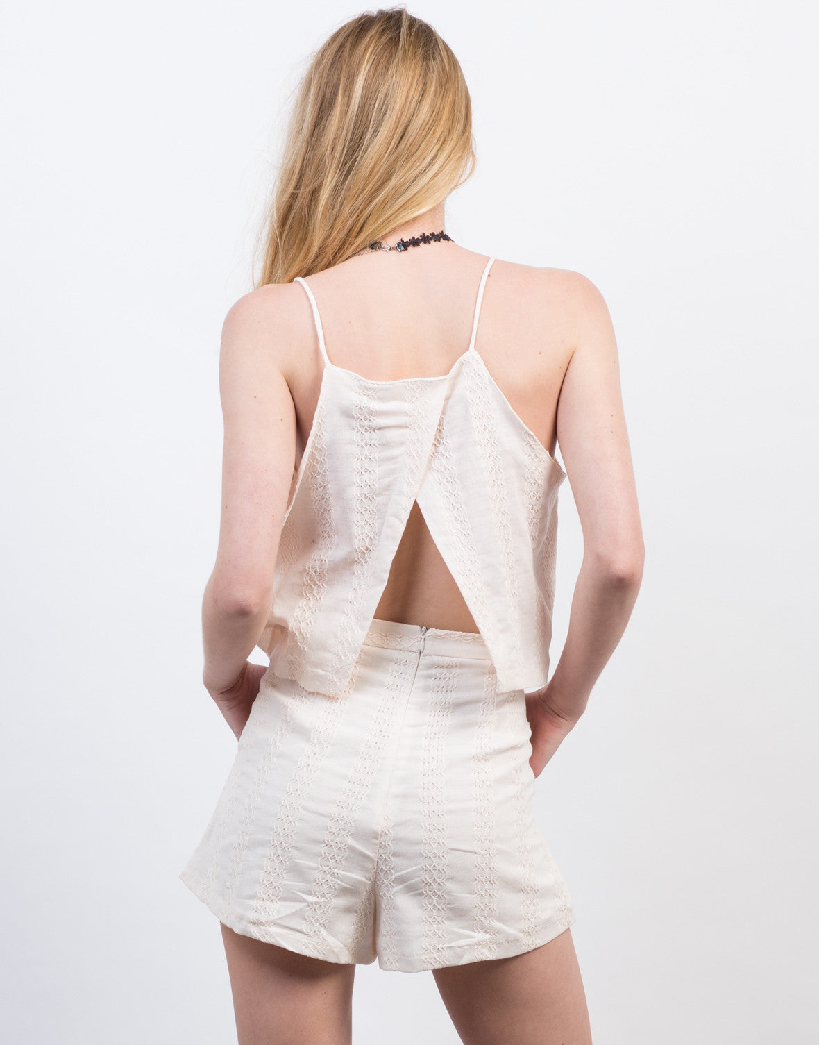 Back View of Embroidered Open Back Tank