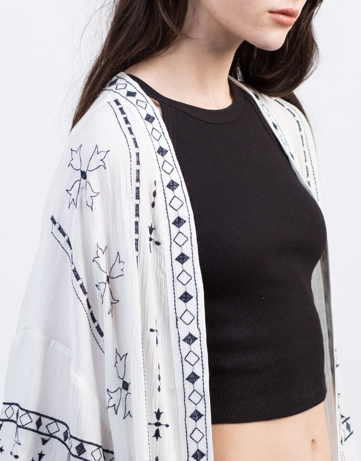 Detail of Embroidered Open Cardigan