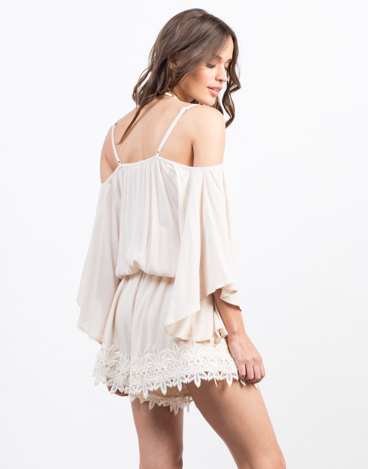 Back View of Embroidered Shoulder Cut Romper