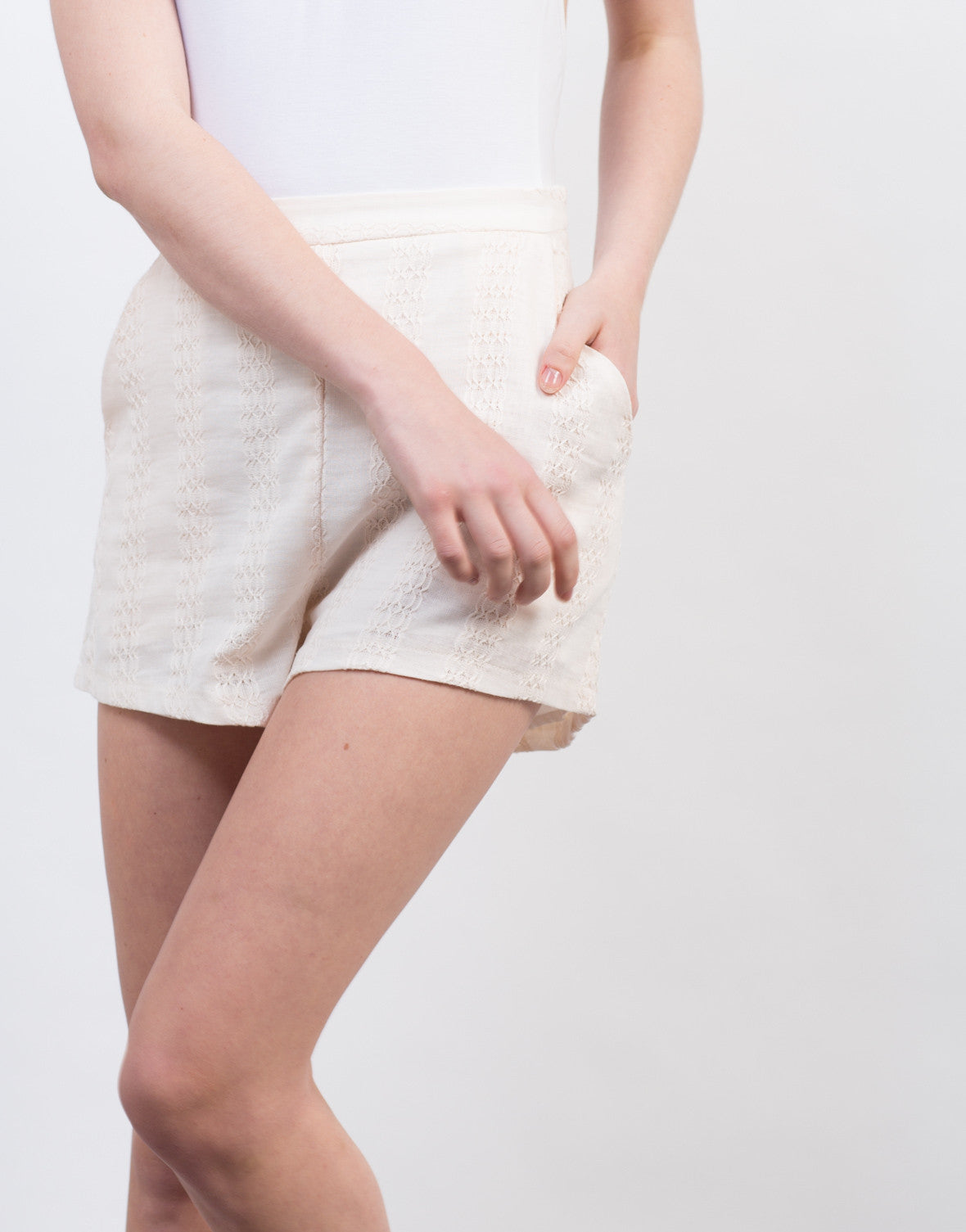 Detail of Embroidered Stitched Shorts