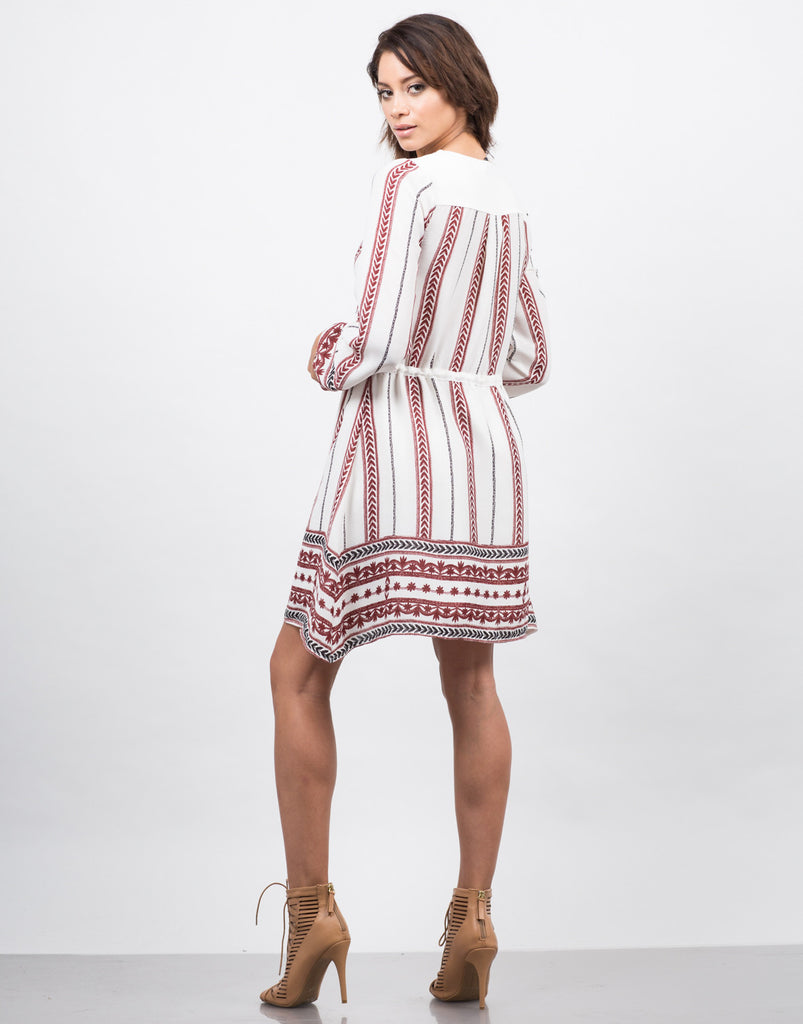 Embroidered Printed Dress - 2020AVE