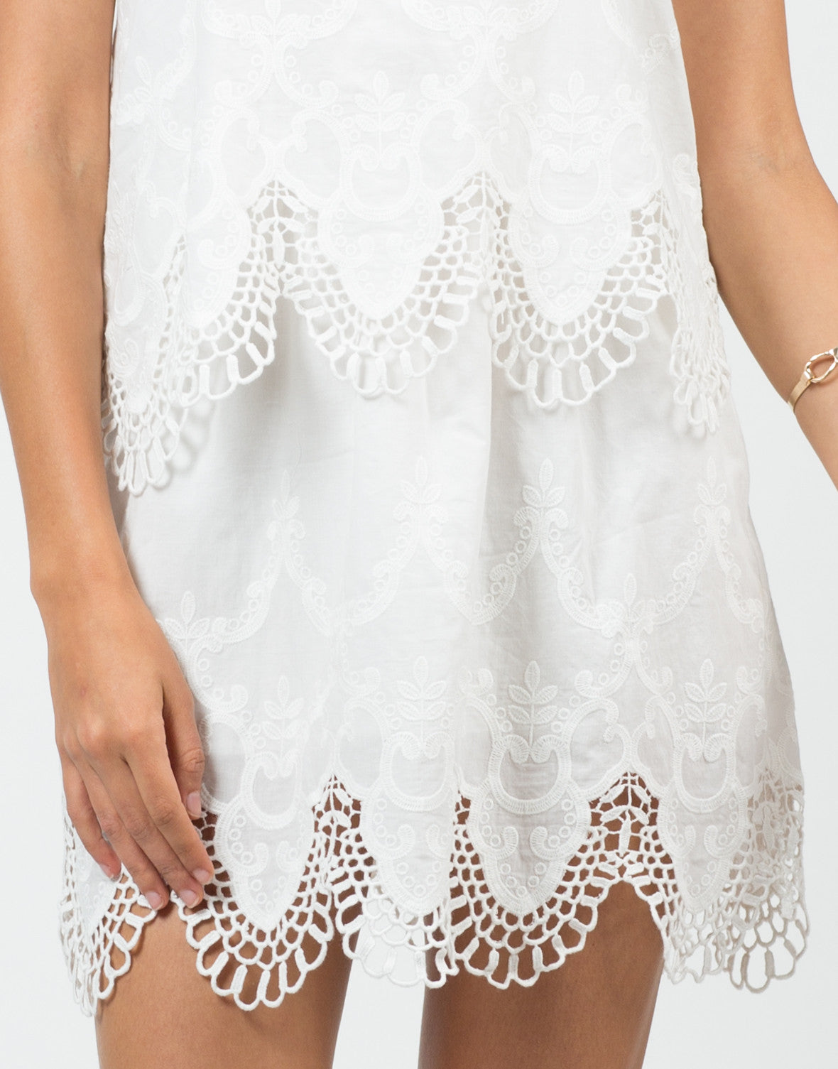 Detail of Embroidered Tiered Dress