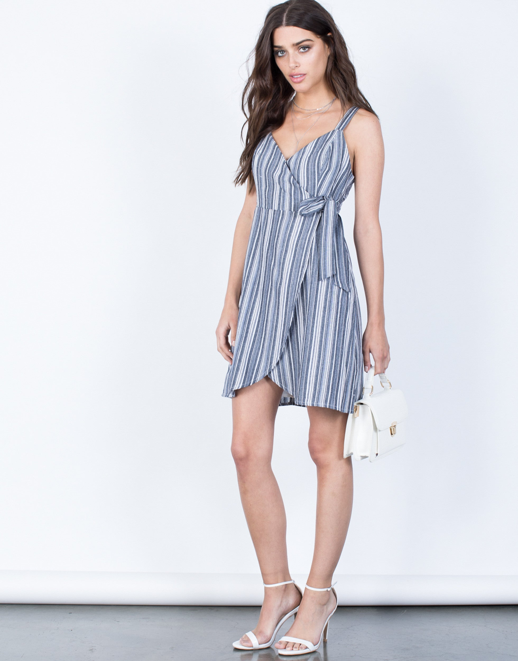 Front View of Emma Striped Dress