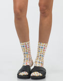 Front View of Emoji Crew Socks