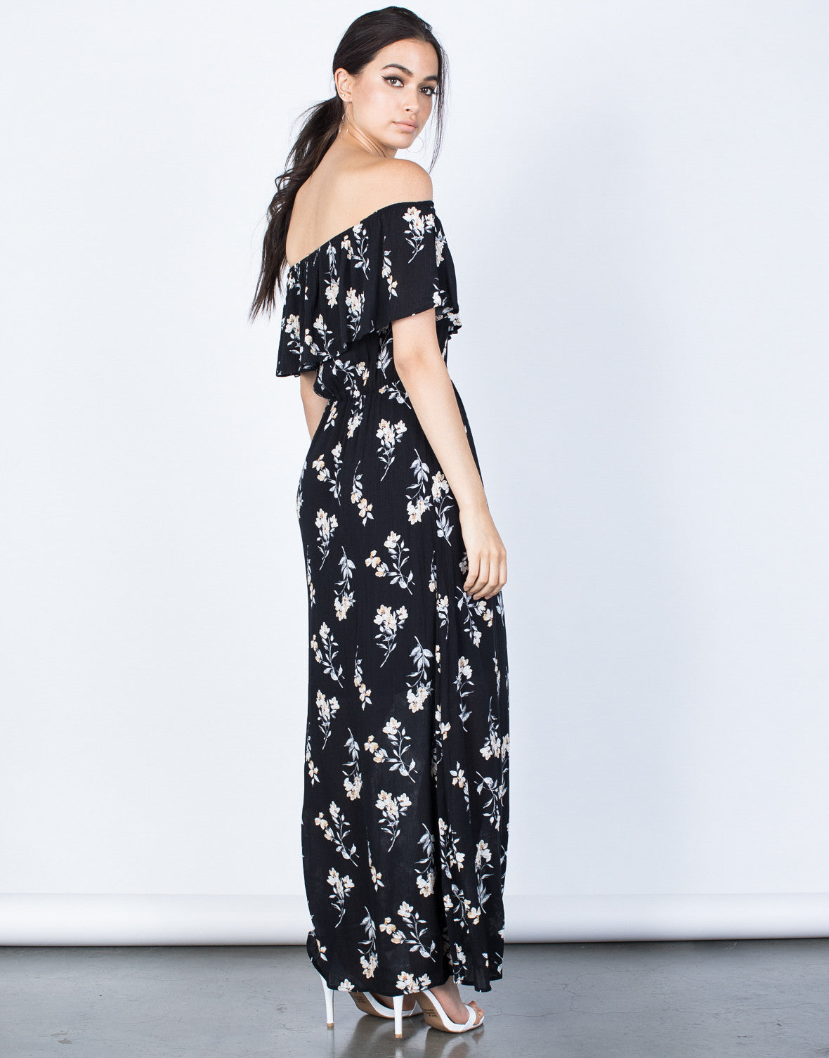 Back View of Evening Floral Maxi Dress