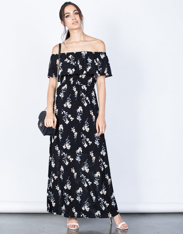 Front View of Evening Floral Maxi Dress