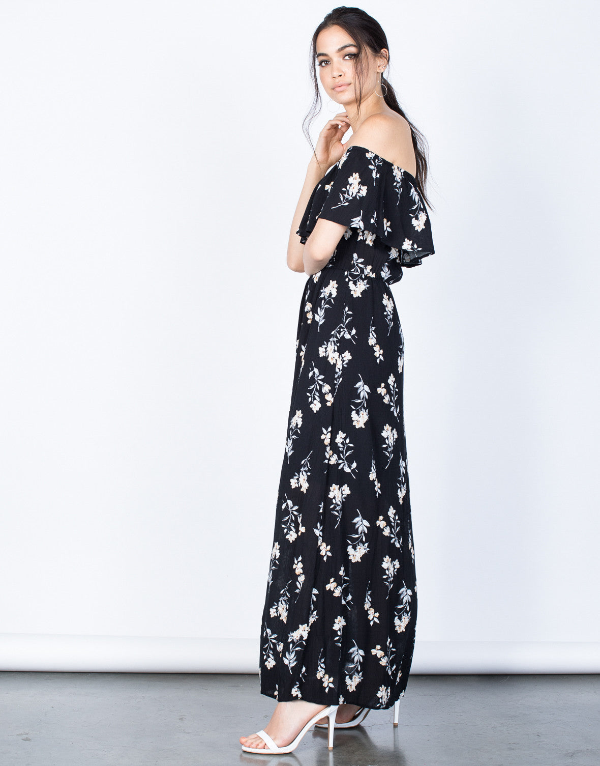 Side View of Evening Floral Maxi Dress