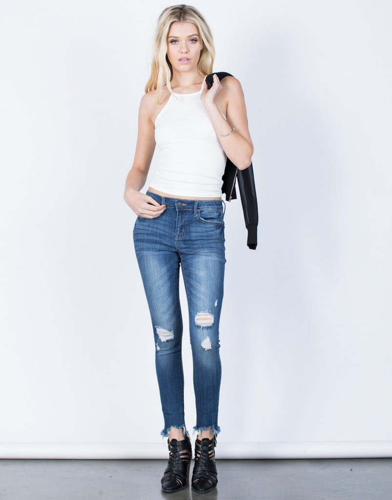 Front View of Everyday Distressed Hem Jeans