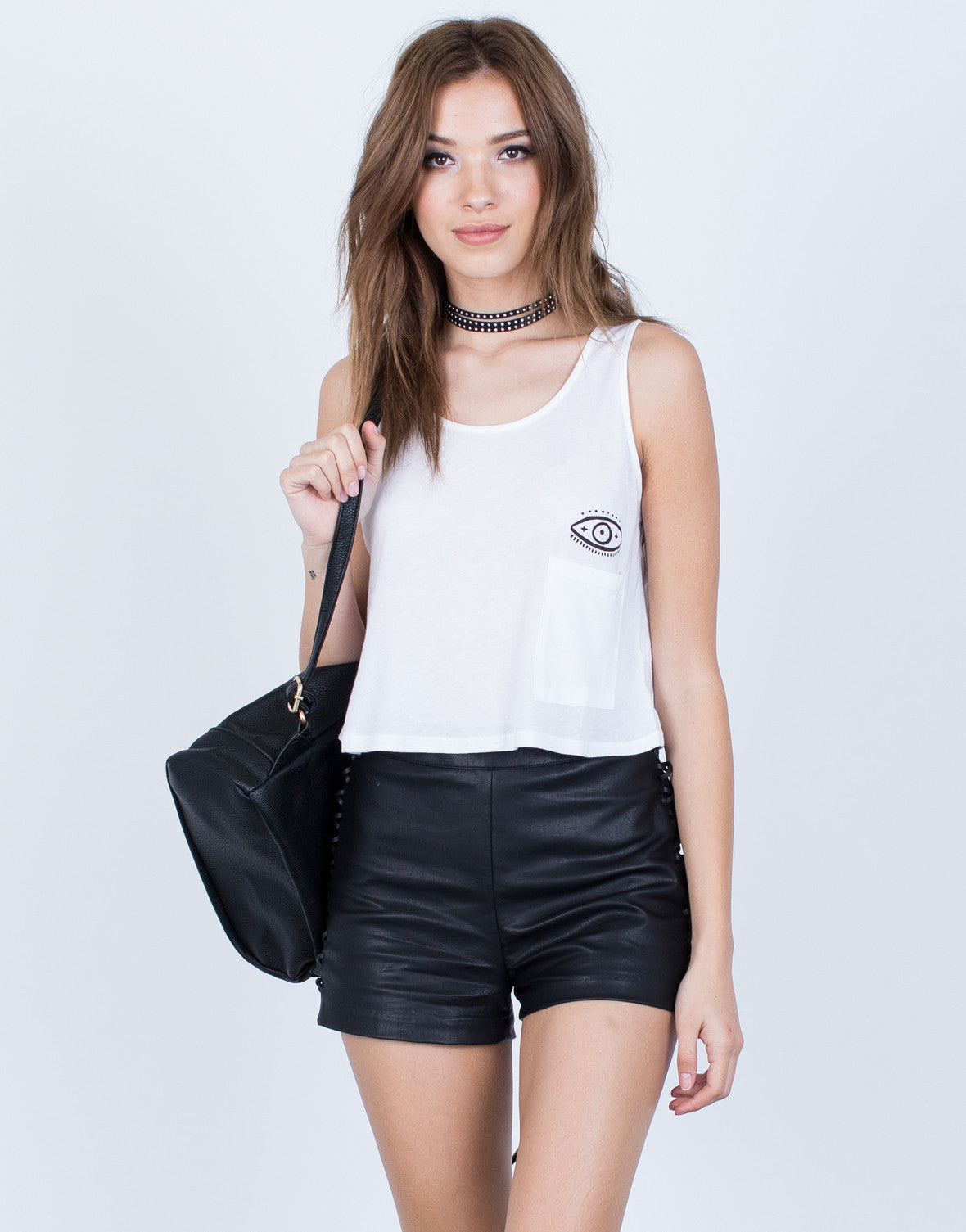Front View of Evil Eye Cropped Tank