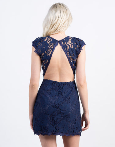 Back View of Exposed Back Lace Dress