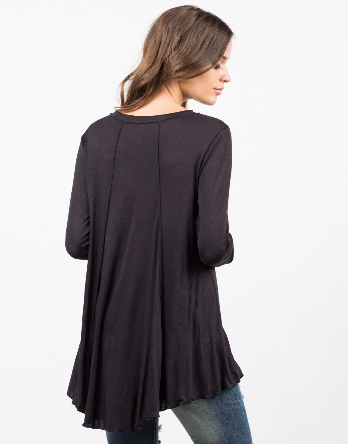 Back View of Exposed Seams Tunic Top